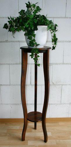 Blumensäule VENEZIA rund 100 cm kolonial Dekosäule nussbaumfarben Blumenständer Massivholz im Arte Povera Stil für das italienische Flair braun  – Bild 1