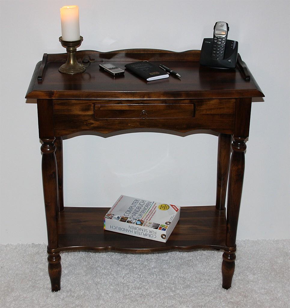 Konsolentisch braun nussbaum Farbe Wandtisch Telefontisch Vollholz massiv – Bild 4