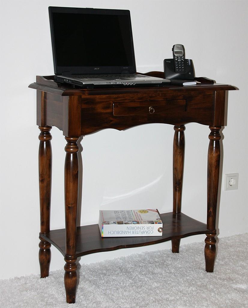 Konsolentisch braun nussbaum Farbe Wandtisch Telefontisch Vollholz massiv – Bild 2