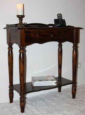 Konsolentisch 74x81x33cm, 1 Schublade, 1 Ablageboden, Pappel massiv nussbaumfarben lackiert