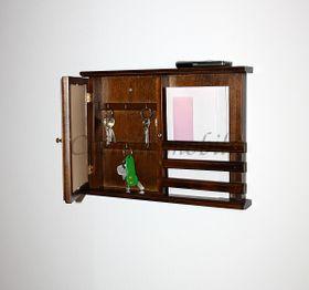 Schlüsselkasten kolonial Schlüsselschrank mit Postablage Holz massiv