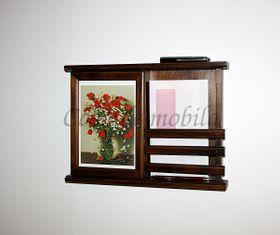 Schlüsselkasten braun nussbaum Farbe Schlüsselschrank mit Postablage Vollholz massiv 001