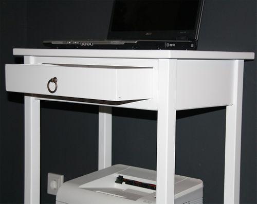 Beistelltisch weiß Konsolentisch Druckertisch Laptoptisch Vollholz massiv – Bild 5