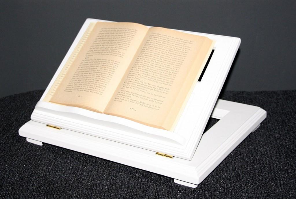 Buchstütze Buchhalter Buchständer Notenständer höhenverstellbar - massiv Holz weiß – Bild 3