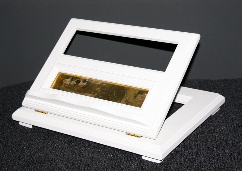 Buchstütze Buchhalter Buchständer Notenständer höhenverstellbar - massiv Holz weiß – Bild 2