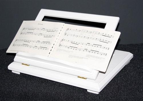 Buchstütze Buchhalter Buchständer Notenständer höhenverstellbar - massiv Holz weiß