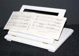 Buchstütze Buchhalter Buchständer Notenständer höhenverstellbar - massiv Holz weiß 001