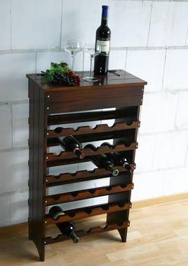 Weinregal DECOR 52x94x27cm Massivholz Fichte nussbaumfarben lackiert für 30 Flaschen 001