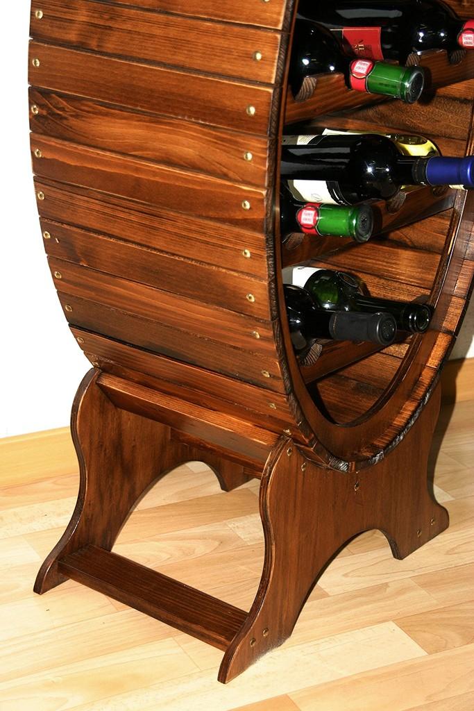 Weinregal Flaschenregal Weinfass 14 Flaschen Vollholz Fichte massiv braun nussbaum Farbe – Bild 4