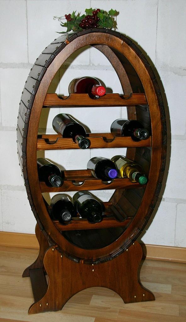 Weinregal Flaschenregal Weinfass 14 Flaschen Vollholz Fichte massiv braun nussbaum Farbe – Bild 1