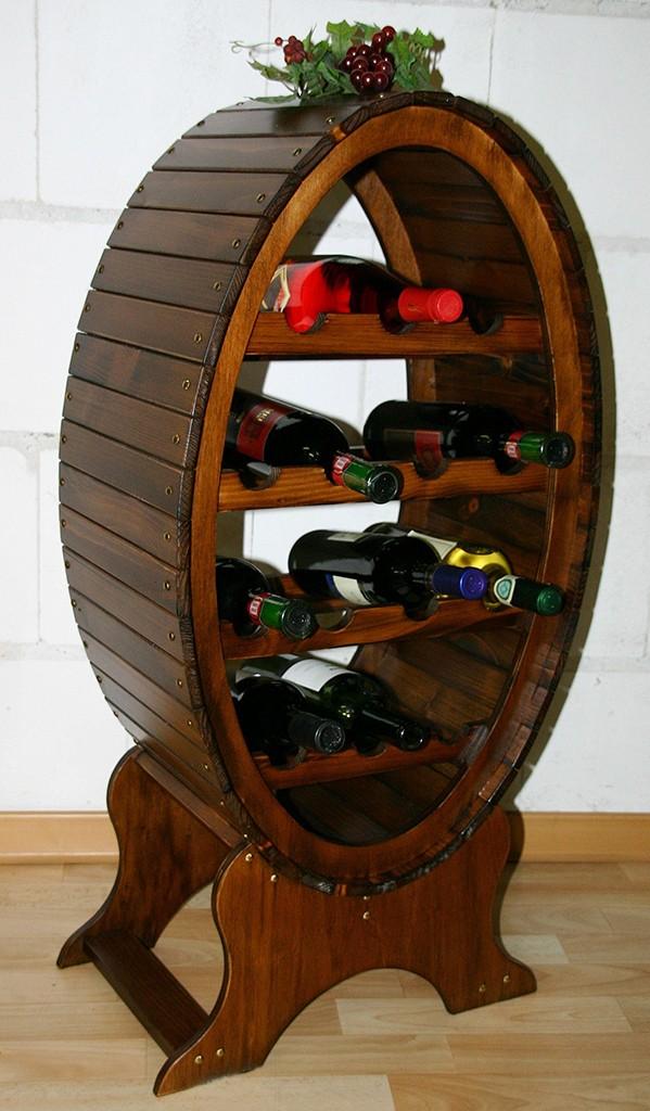 Weinregal Flaschenregal Weinfass 14 Flaschen Vollholz Fichte massiv braun nussbaum Farbe – Bild 2