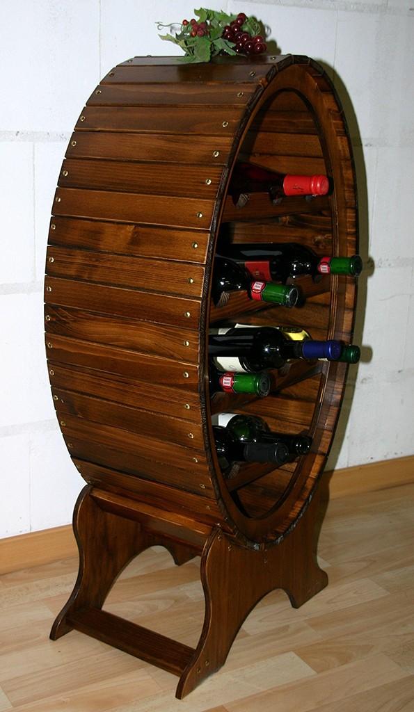 Weinregal Flaschenregal Weinfass 14 Flaschen Vollholz Fichte massiv braun nussbaum Farbe – Bild 3