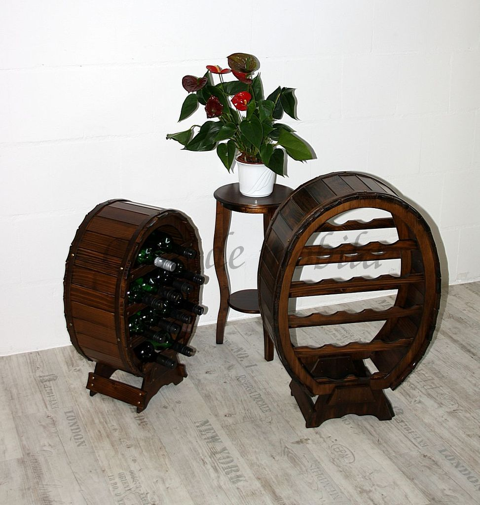 Weinregal Flaschenregal Weinfass 18 Flaschen Vollholz Fichte massiv braun nussbaum Farbe – Bild 5