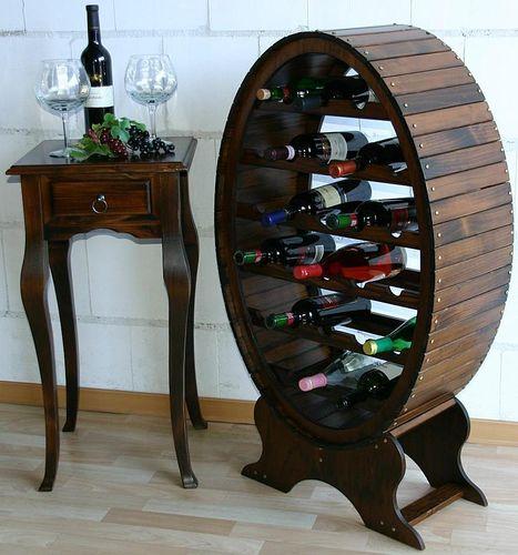 Weinregal Flaschenregal Weinfass 26 Flaschen Vollholz Fichte massiv braun nussbaum Farbe – Bild 1