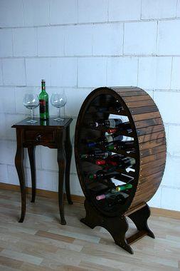 Weinregal 58x105x29cm, für 26 Flaschen, Fichte massiv nussbaumfarben lackiert