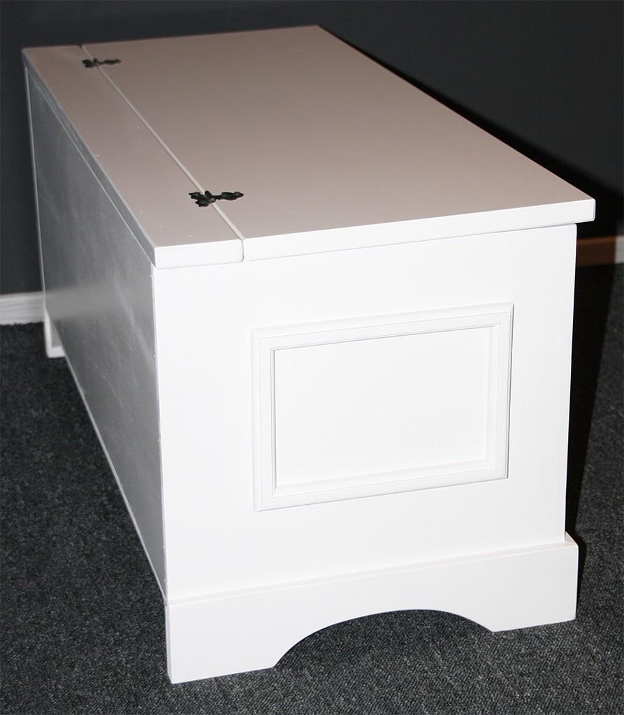 truhe holztruhe wäschetruhe sitztruhe 39x84 - holz massiv weiß, Moderne