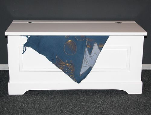 Truhe Holztruhe Wäschetruhe Sitztruhe 39x84 - Holz massiv weiß – Bild 1
