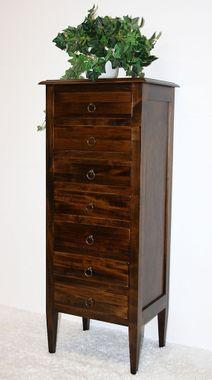 Kommode 48x115x34cm, 7 Schubladen, Pappel massiv nussbaumfarben lackiert