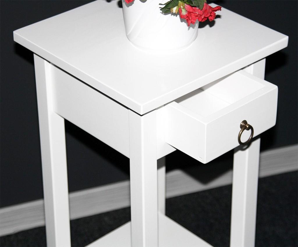 Beistelltisch Blumentisch Blumenhocker 70 Massivholz weiß lackiert – Bild 3