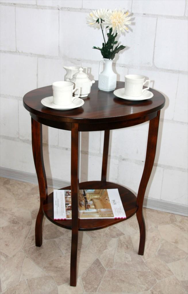 Beistelltisch Teetisch Tisch oval 75 Vollholz massiv braun nussbaum Farbe – Bild 1