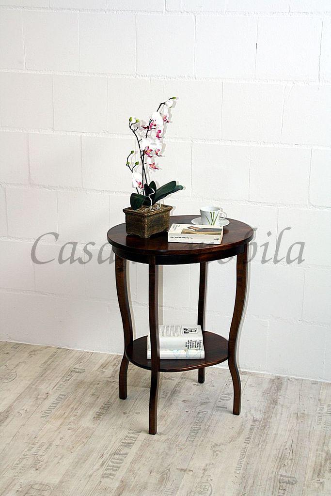 Beistelltisch Teetisch Tisch oval 75 Vollholz massiv braun nussbaum Farbe – Bild 3