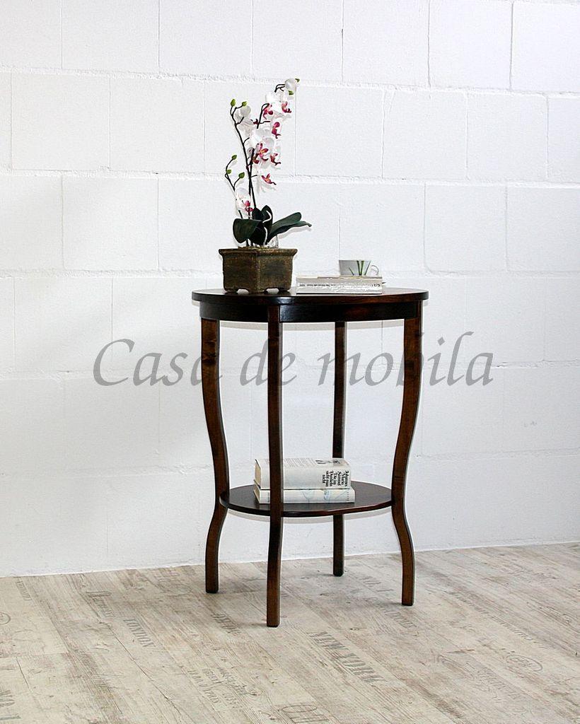 Beistelltisch Teetisch Tisch oval 75 Vollholz massiv braun nussbaum Farbe – Bild 4