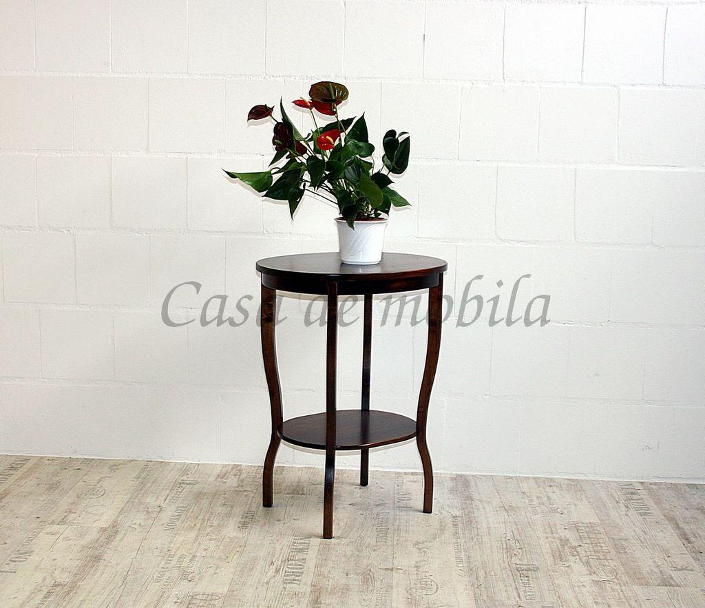 Beistelltisch Teetisch Tisch oval 75 Vollholz massiv braun nussbaum Farbe – Bild 5