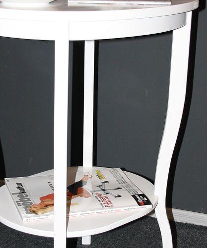 Beistelltisch Teetisch Tisch oval 75 - Holz massiv weiß – Bild 3