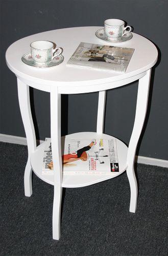 Beistelltisch Teetisch Tisch oval 75 - Holz massiv weiß – Bild 1