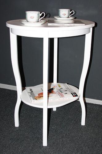 Beistelltisch Teetisch Tisch oval 75 - Holz massiv weiß – Bild 2