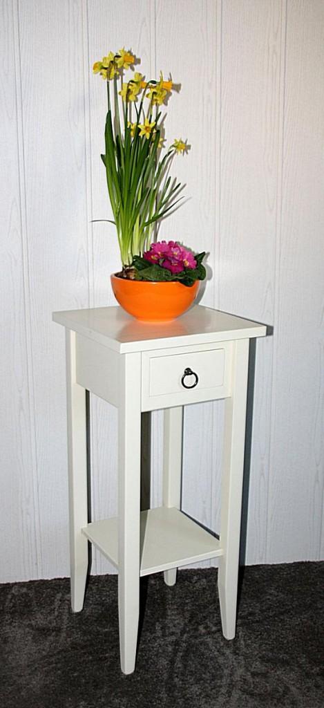 Beistelltisch Blumentisch Blumenhocker 70 - Vollholz creme lackiert – Bild 2