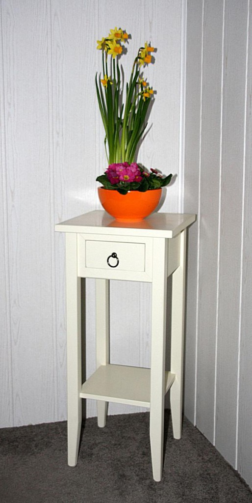 Beistelltisch Blumentisch Blumenhocker 70 - Vollholz creme lackiert – Bild 1