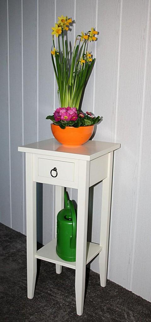 Beistelltisch Blumentisch Blumenhocker 70 - Vollholz creme lackiert – Bild 4