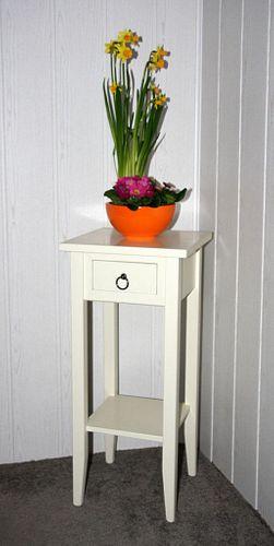 Beistelltisch Blumentisch Blumenhocker 70 - Holz massiv creme lackiert – Bild 1