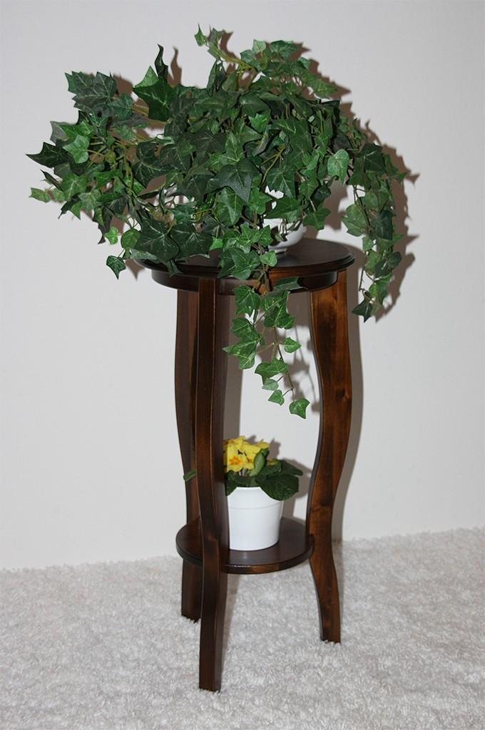 Blumentisch Blumenhocker rund 60 Vollholz Pappel massiv braun nussbaum Farbe – Bild 2