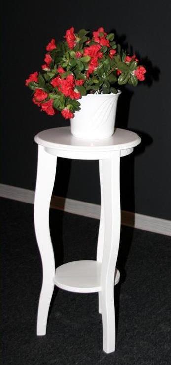 Blumentisch Blumenhocker rund 60 - Holz massiv weiß lackiert – Bild 1