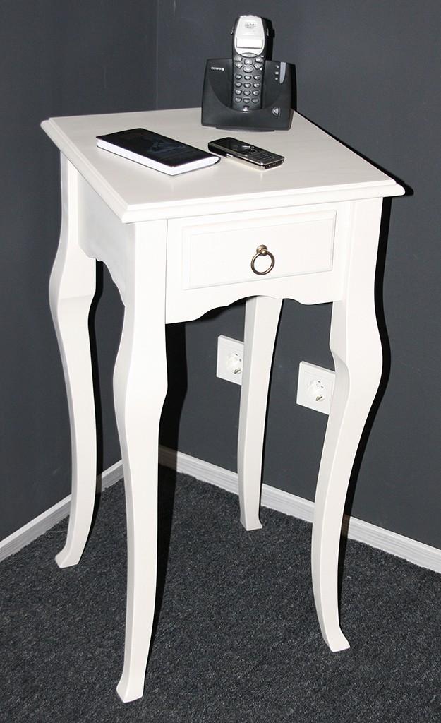 Wandtisch weiß Telefontisch Beistelltisch 80x39 Vollholz massiv – Bild 9