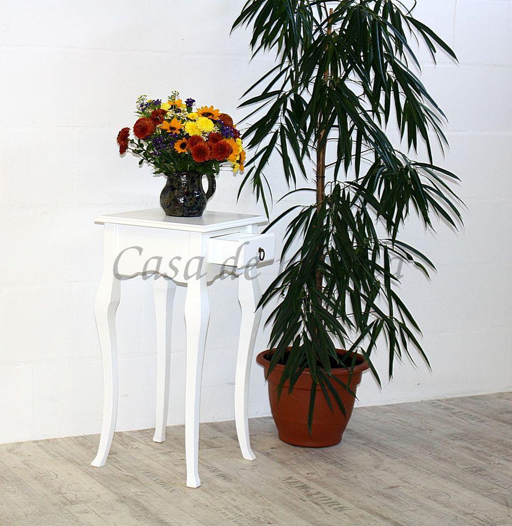 Wandtisch weiß Telefontisch Beistelltisch 80x39 Vollholz massiv – Bild 4