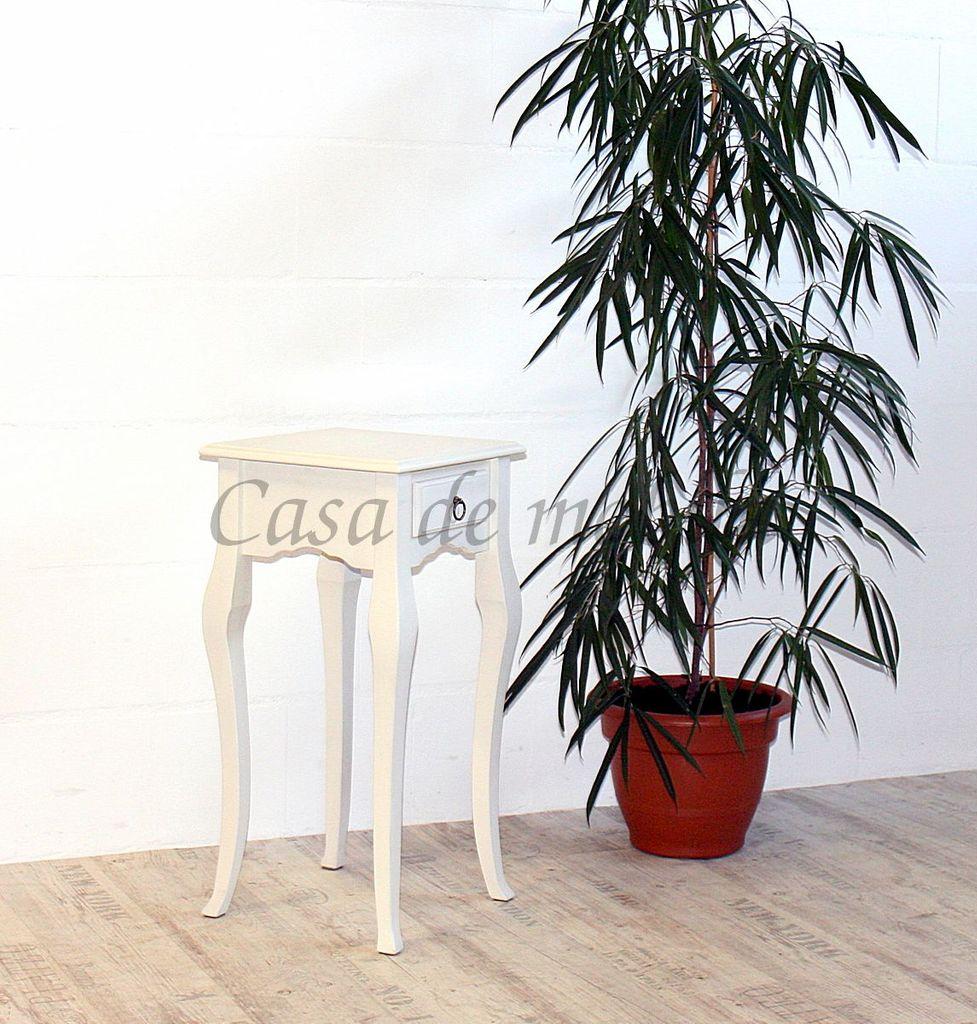 Wandtisch weiß Telefontisch Beistelltisch 80x39 Vollholz massiv – Bild 5
