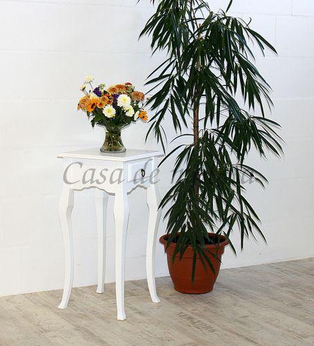 Wandtisch weiß Telefontisch Beistelltisch 80x39 Vollholz massiv – Bild 2