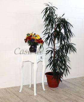 Wandtisch weiß Telefontisch Beistelltisch 80x39 Vollholz massiv 001