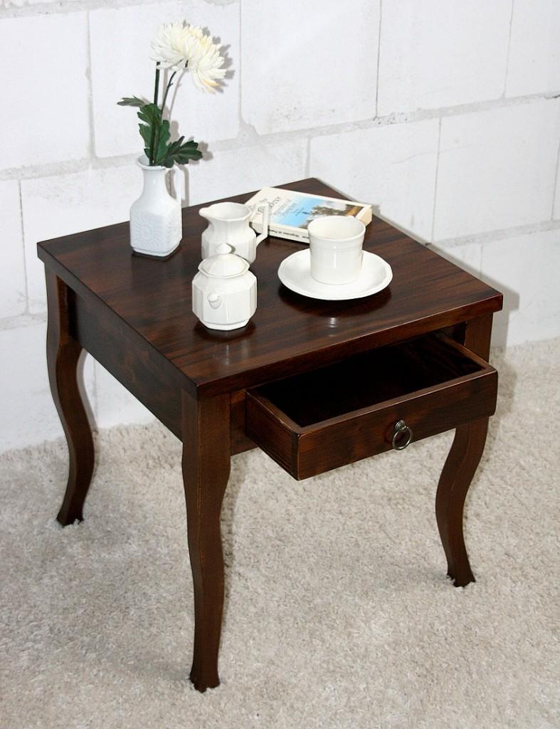 Beistelltisch braun nussbaum Farbe Couchtisch mit Schublade Nachttisch Nachtkommode – Bild 2