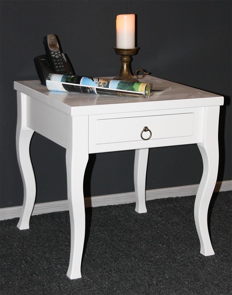 beistelltisch wei couchtisch mit schublade nachttisch. Black Bedroom Furniture Sets. Home Design Ideas
