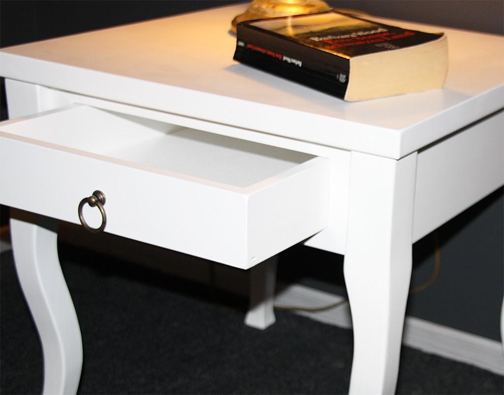 Beistelltisch weiß Couchtisch mit Schublade Nachttisch Nachtkommode – Bild 4