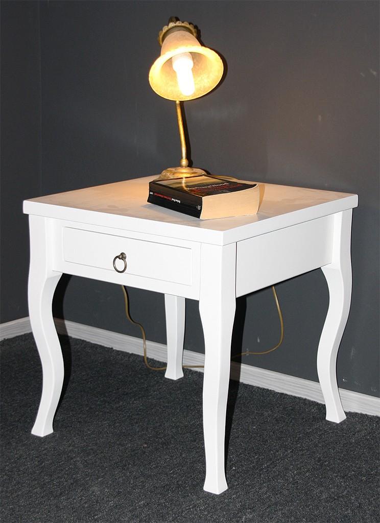 Beistelltisch weiß Couchtisch mit Schublade Nachttisch Nachtkommode – Bild 2