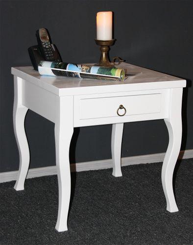 Beistelltisch weiß Couchtisch mit Schublade Nachttisch Nachtkommode – Bild 1