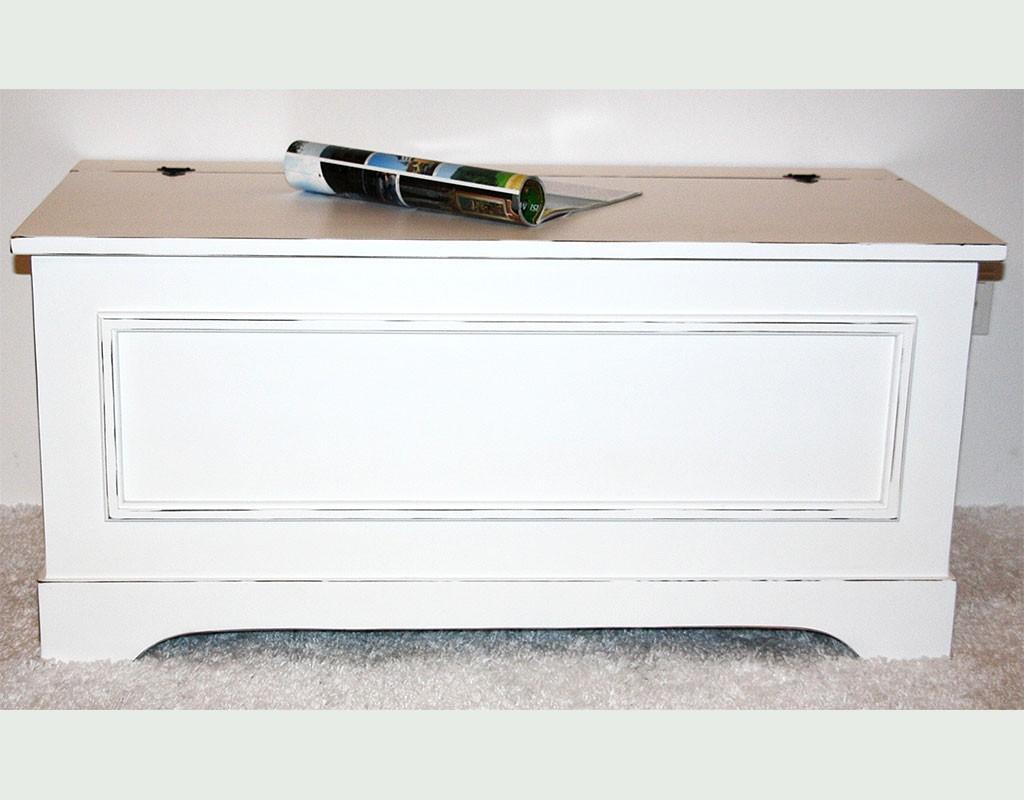 Truhe Holztruhe Wäschetruhe Sitztruhe 44x98 Holz massiv weiß vintage – Bild 1
