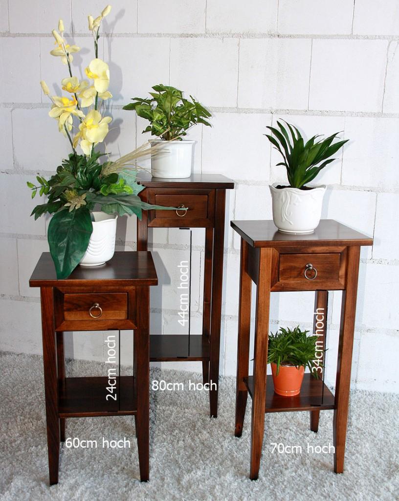 Beistelltisch Blumentisch Blumenhocker 60 Vollholz massiv braun nussbaum Farbe – Bild 4