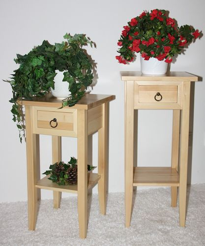Massivholz Beistelltisch Blumentisch Blumenhocker 60 - Holz massiv natur – Bild 4