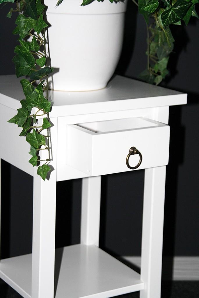 Beistelltisch Blumentisch Blumenhocker 60 Holz massiv weiß – Bild 2